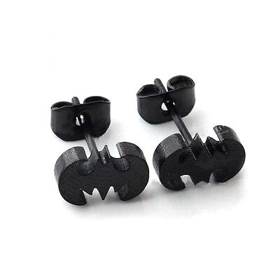 Wholesale Punk Piercing Stainless Steel Bat Batman Logo Ear Studs Earrings Cool - Punk Wholesale