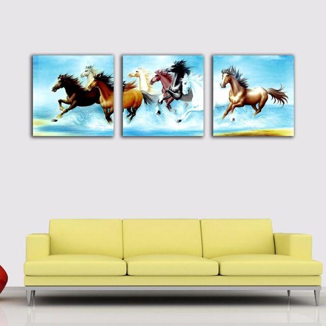 3 Panels 70×70×3cm Eight Horses Canvas Print Framed Wall Art Decor Painting Gift