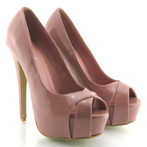 NEW WOMENS CONCEALED PLATFORM LADIES HIGH HEEL COURT SHOES PEEP TOE HEELS SIZE