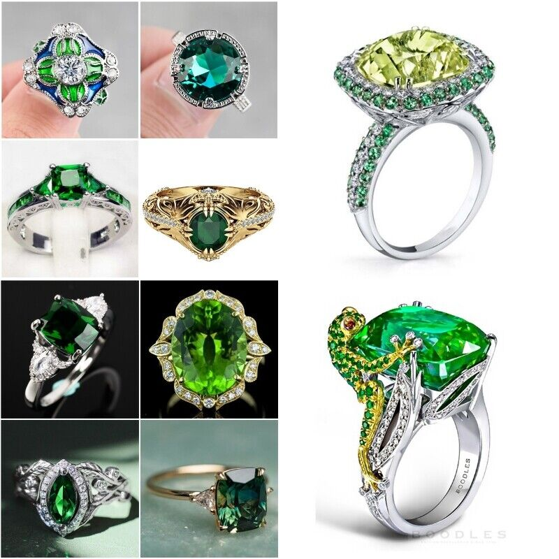 925 Silver Rings Women Emerald Fashion Wedding Engagement Ring Jewelry Size6-10