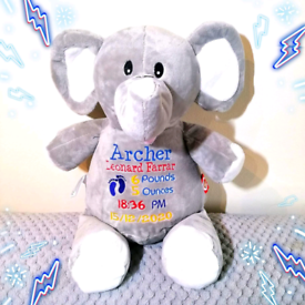 Personalised Embroidered Elephant Teddy