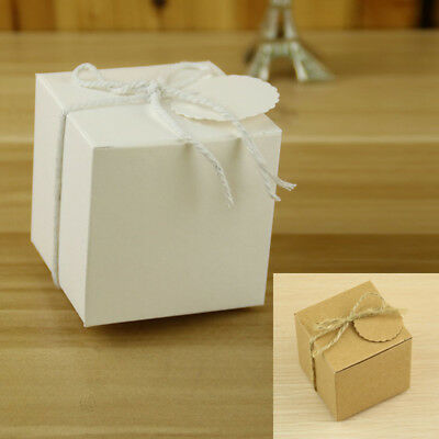 50 Pcs Kraft Paper Square Candy Cake Gift Box Birthday Party Wedding Favor Boxes (Kraft Square)