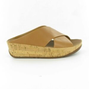 Ladies Tan Leather Fitflop Kys Cross Slide Sandals 37M