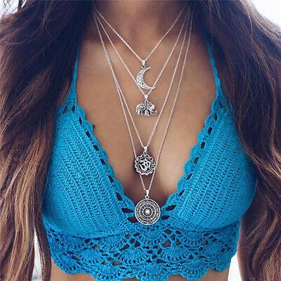 Boho Choker Necklace Silver Chain Elephant Sun Moon Flower Pendant Multi Layer