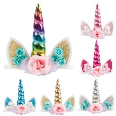 Unicorn Topper Cute Baby Birthday Cake Decor Horn Ear Flower Party Ornament Prop Animal Birthday Cakes