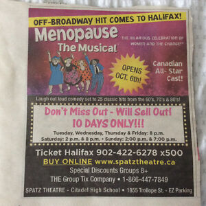 "2 Tickets  ""Menopause the Musical"" Sunday Oct 9. 2pm"
