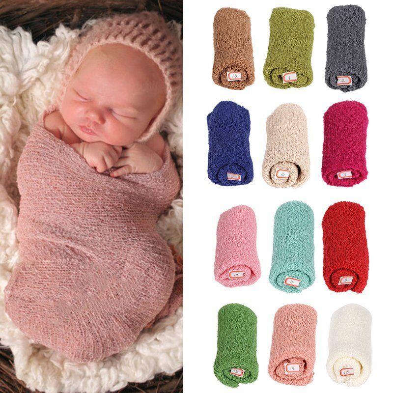 Newborn Baby Girl Boy Crochet Knit Wrap Rayon Swaddle Photography Photo Props