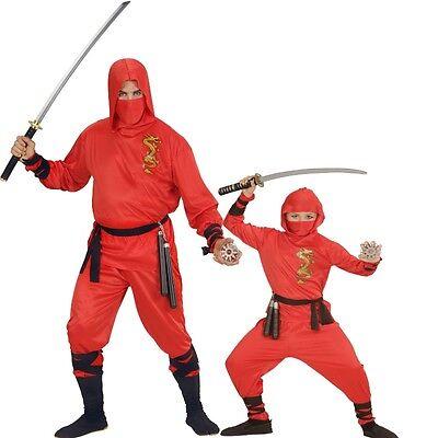 Erwachsene und Kinder Kostüm RED DRAGON Ninja Samurai Kämpfer rot Jungen Herren ()
