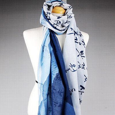 Korean Alphabet Hangul Printing Unique Fashion Long Scarf Wrap Blue Color