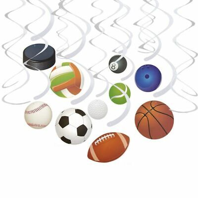 Sports Theme Decor (30-Count Swirl Decorations - Ball Party Decor, Sports-Themed Party)