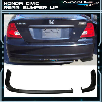 For 01-03 Honda Civic 2Dr Coupe TR Style Rear Bumper Lip PU Unpainted