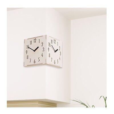 Corner Wooden Wall Clock Creative Clock Home Decor Modern Art Interior Gift