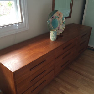 Beautiful Teak Dresser and Mirror