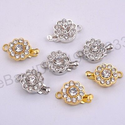 5/10 Sets Crystal Rhinestone Flower Connector Box Clasp For Bracelets Necklace