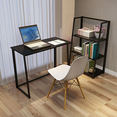 Black Foldable Computer Desk Office Study Workstation Without Installation Home