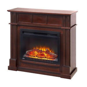 Electric Fireplace Media Console in Antique Mahogany