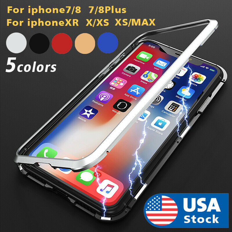 360° Magnetic Adsorption Phone Case Glass Cover For iPhone Xs Max Xr 7 8 Plus US Cases, Covers & Skins