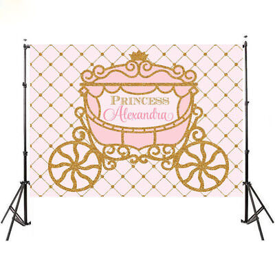 Pink and Gold Birthday Party Princess Carriage Backdrop Background - Pink And Gold Princess Party
