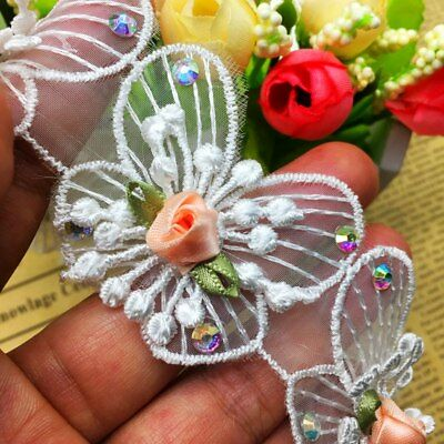 5pcs Diamond Butterfly Lace Fabric Trim Ribbons Wedding Applique Sewing Craft Diamond Trim