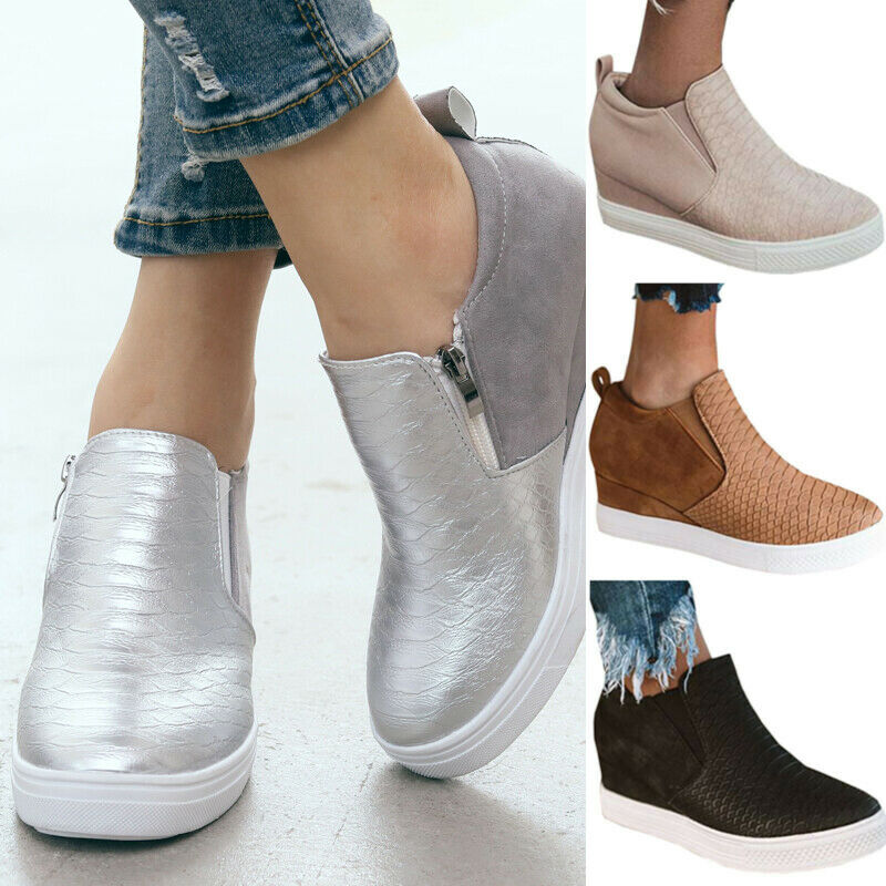 Fashion Ladies Platform Hidden Heel Wedge Loafers Sneakers S