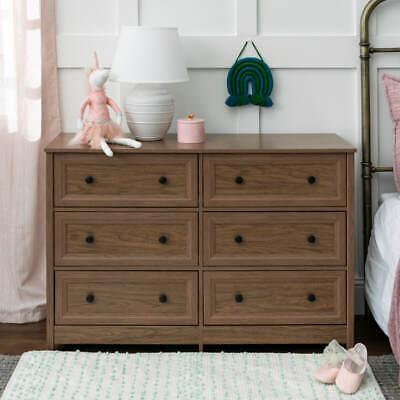 New 6 Drawer Grooved Dresser Walnut