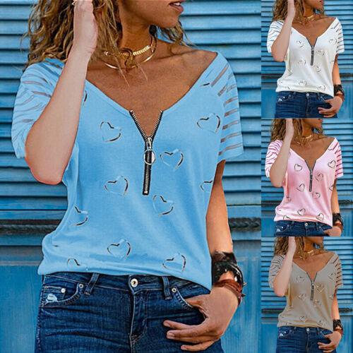 Women Summer V Neck Floral T Shirt Short Sleeve Zip Casual Loose Tops Blouse Tee