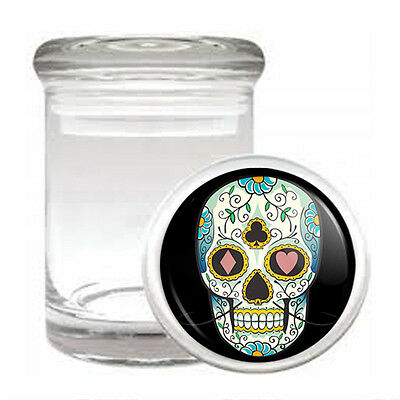 Skull Odorless Air Tight Medical Glass Jar Container D 16 Sugar Skull Scary - Scary Sugar Skull