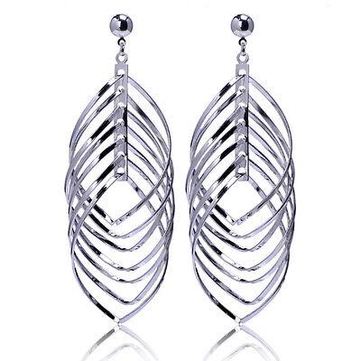 Oversize 18K White Gold Plated Multi Loops Circle Large Piercing Stud - Multi Circle White Earrings