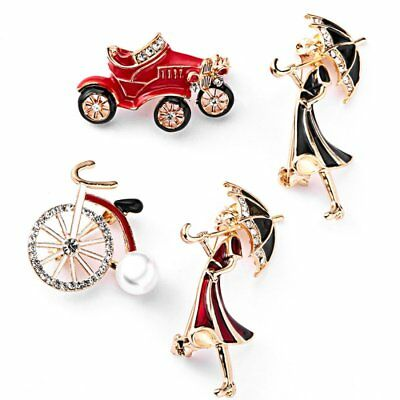 (Fashion Bicycle Car Girl Umbrella Crystal Pearl Brooch Pin Women Costume Jewelry)