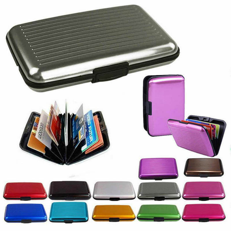 Pocket Waterproof Business ID Credit Card Wallet Holder Aluminum Metal RFID Case Clothing, Shoes & Accessories