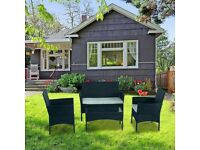 Rattan Black Garden Furniture 5 Piece Set
