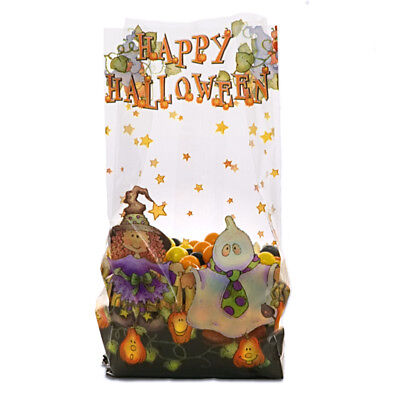 NEW 25 Happy Halloween Trick Or Treat Witch Ghost Cello Cello with Twist Ties