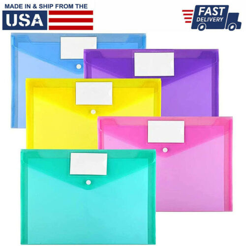 10 Pack Plastic Envelopes Poly Envelopes,  Clear Document Folders Office Work