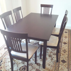 7 PC Solid Wood Dining Table Set (Table + 6 Chairs)