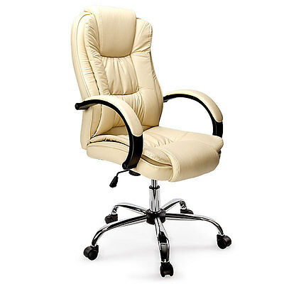 BIO Executive Office Chair PU Faux Leather Office Computer Chair Beige