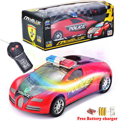 Plastic Cars For Toddlers (Toys For Boys Children Kids RC Police Car Flashing Lights 3 4 5 6 7 8 9 Age)