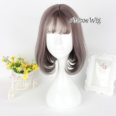30CM Natural Lolita Short Ash Brown Heat Resistant Cute Bang Cosplay Wig+Cap - Ash Female Cosplay