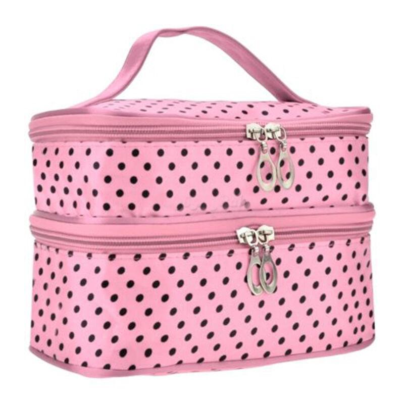 Kosmetiktasche Kulturbeutel Schminktasche Groß Organizer Reise Make-up Taschen #2 Pink Schwarz Punkte