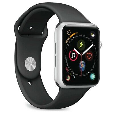 Apple Watch Series 4 44mm Silver Aluminium Black Sport Band GPS Cellular 4G LTE