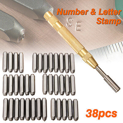 """38pc Steel Number Letter Metal Punch Set 1/8"""" Stamp Automatic Center Alphabet ID"""