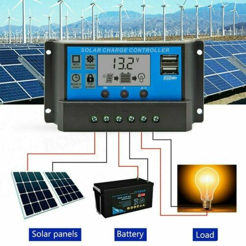 Solar Panel 12V//24V Auto Paremeter Adjustable LCD Dual Charge Controller 50 Amp