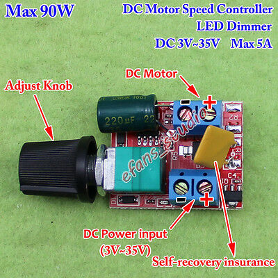 3v35v 12v 24v 5a Pwm Dc Motor Speed Controller Adjustable Switch Led Fan Dimmer