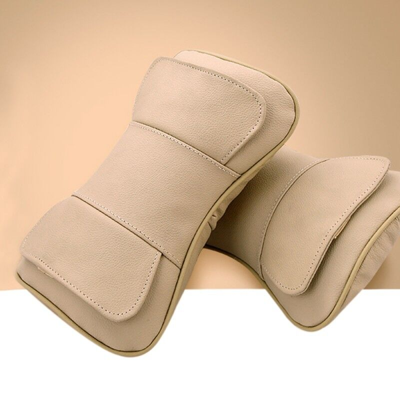 Beige 2pcs Car Seat Neck Rest Headrest Double Layer Pillow  Genuine Leather New