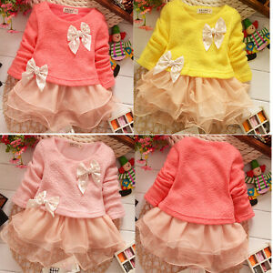 Baby-Girls-Clothes-Long-Sleeve-Knitted-Kids-bowknot-Princess-Tulle-Dress-1-4Y