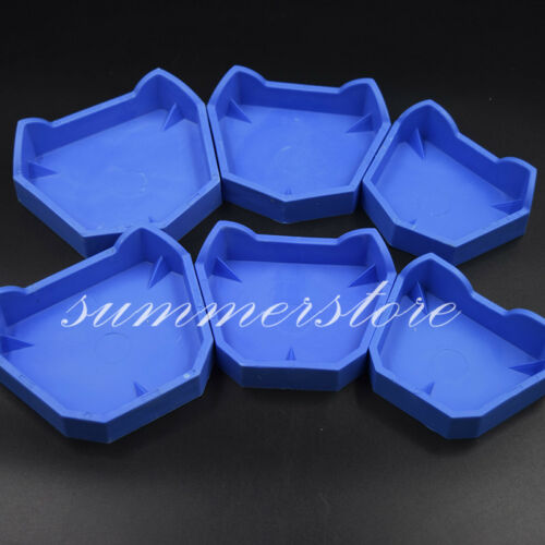 6 Pcs Dental Lab Blue Silicone Model Former Base Molds Mould Tray with Notches