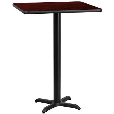 30 Square Mahogany Laminate Table Top With 22 X 22 Bar Height Base