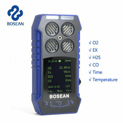4 In 1 Gas Detector Co O2 H2s Ex Oxygen Gas Monitor Time Temperature Meter