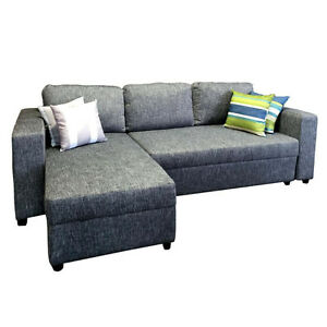 Grey Fabric Storage Sectional Sofa Bed - BRAND NEW