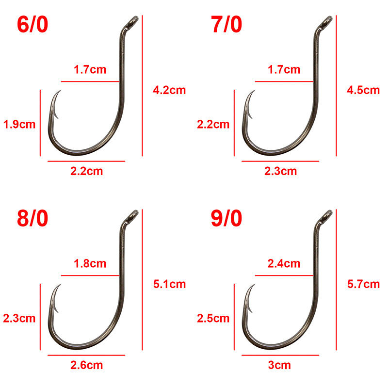120pcs High Carbon Steel Sharp Fishing Hook Offset Octopus Beak Bait Hook 1#-9//0