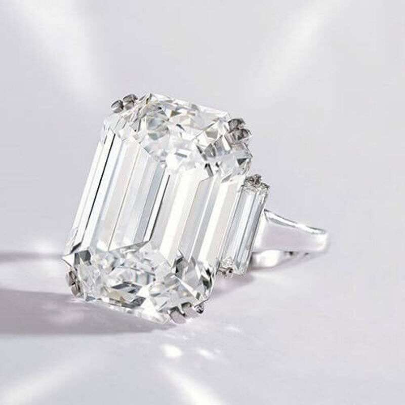 4.60 ct. Three Stone Emerald Cut Diamond GIA Certfied J, VVS2 14k White Gold